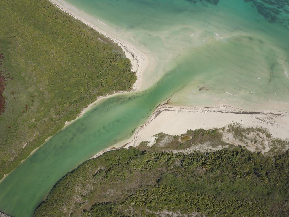 Vista aérea de la reserva ecológica Sian Ka'an.